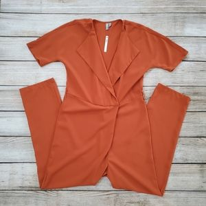 NWT ASOS Tall Burnt Orange VNeck Collared Jumpsuit